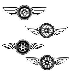 set of winged wheels design element for logo vector image vector image