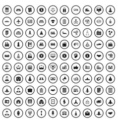 100 corporation startup icons set simple style vector
