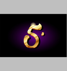 5 five number numeral digit golden 3d logo icon vector image