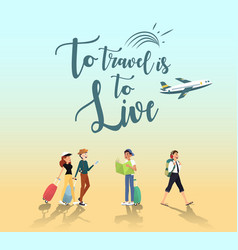 Adventure trip for traveler by plane design vector