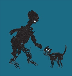 Alien And Cat vector
