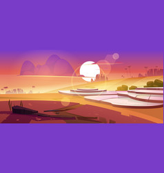 Asian rice field terraces in mountains sunset view vector