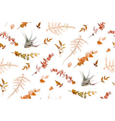 autumn fall leaves foliage lovely seamless pattern vector image