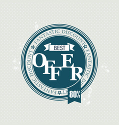 best offer stamp sale badge vector image