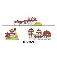 Bhutan flat landmarks bhutan vector