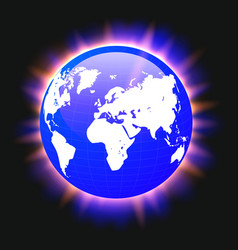 blue planet earth and world map colorful light vector image