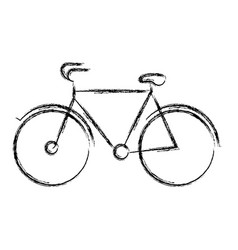 Blurred thick silhouette of tourist bicycle icon vector