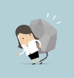 businesswoman carrying a big rock vector image