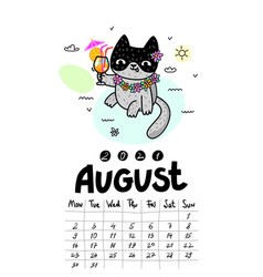 Calendar page with cute cat on white background vector