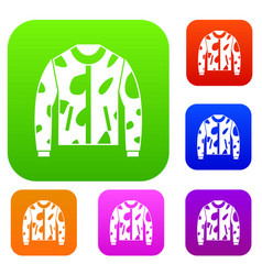 Camouflage jacket set collection vector