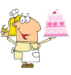 Caucasian Cartoon Cake Maker Woman vector image