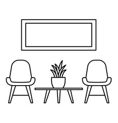 chair and room plant icon outline style vector image