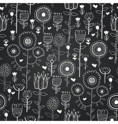 chalkboard seamless floral pattern vector image