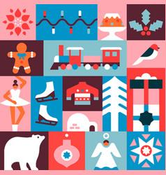 christmas seamless pattern flat winter icon mosaic vector image