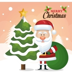 chrsitmas card santa claus tree and bag green vector image