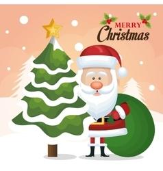 Chrsitmas card santa claus tree and bag green vector