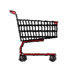 color crayon stripe image shopping cart of vector image vector image