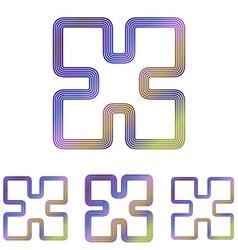 Color line technology logo design set vector