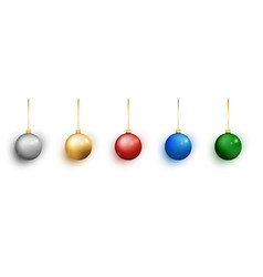 colorful christmas balls set on white background vector image
