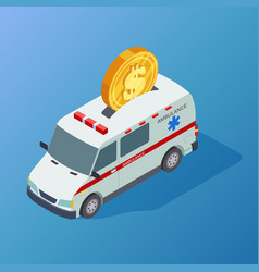 commercial medicine isometric ambulance and vector image