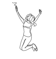 continuous line drawing of happy jumping woman vector image