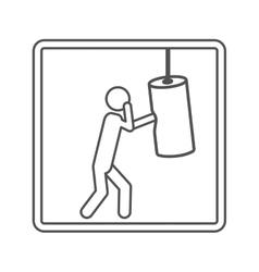 Contour square shape pictogram man knocking bag vector