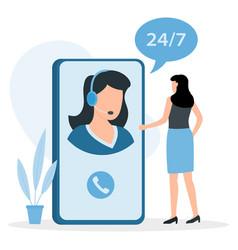 customer service woman hotline operator advises vector image