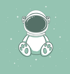 Cute astronaut bear vector