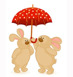 Cute bears with umbrella vector image