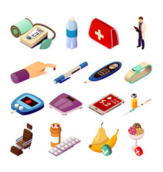 Diabetes control isometric icons vector
