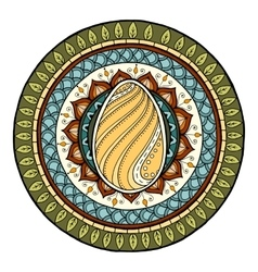 Easter theme mandala with doodle egg Ethnic vector image