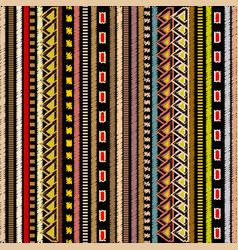 Embroidery striped tribal seamless pattern vector