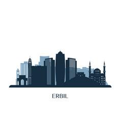 Erbil skyline monochrome silhouette vector