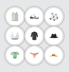 Flat icon clothes set of brasserie singlet vector