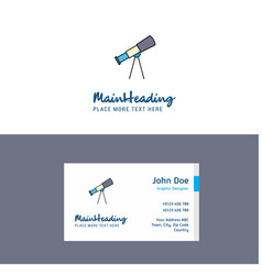 Flat telescope logo and visiting card template vector
