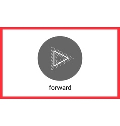 Forward button contour outline vector image