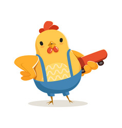 Funny cartoon chicken standing and holding vector