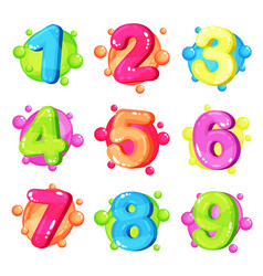 Funny colorful numbers set kids font vector