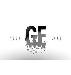 Ge g e pixel letter logo with digital shattered vector