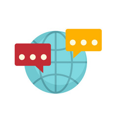 Global sms chat icon flat style vector