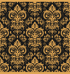 golden damask pattern vintage ornament and vector image