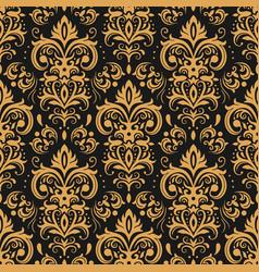 golden damask pattern vintage ornament vector image