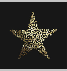 Golden star isolated on black background vector