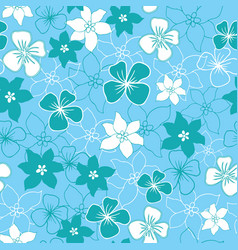 green and white flower mix seamless pattern vector image