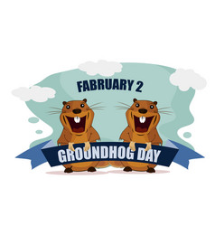 greeting card for groundhog day on isolated vector image