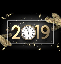 grey 2019 happy new year card with gold clock and vector image