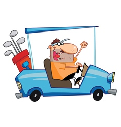 Happy golfer drives golf cart vector