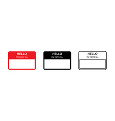 Hello my name is red sticker blank name tag vector