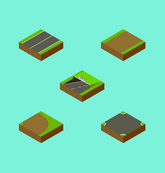 Isometric way set of rotation footpath plane and vector