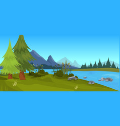 Landscape forest mountain river outdoor nature vector